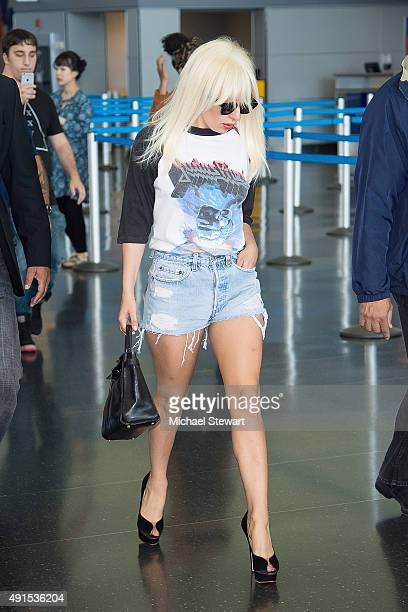 Singer Lady Gaga is seen at JFK airport on October 6 2015 in New York City