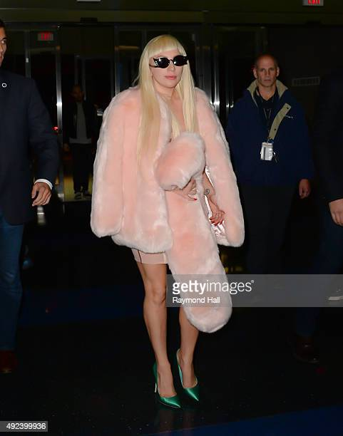 Singer Lady Gaga is seen at JFK on October 12 2015 in New York City