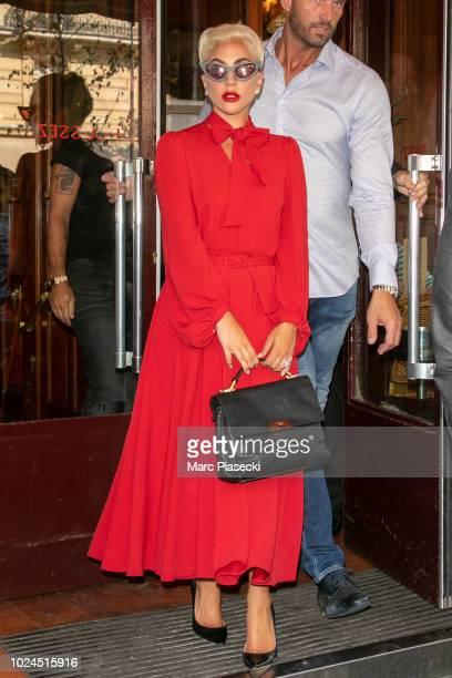 Singer Lady Gaga is seen leaving the 'Lipp' restaurant on August 27 2018 in Paris France