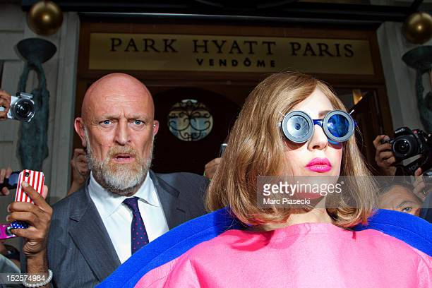 Singer Lady Gaga is seen leaving the 'Park Hyatt Paris Vendome' hotel on September 22 2012 in Paris France