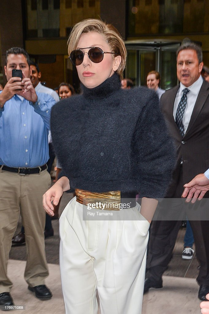 Singer Lady Gaga leaves the Sirius XM Studios on August 19, 2013 in New York City.