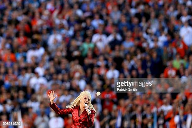Singer Lady Gaga performs during Super Bowl 50 between the Denver Broncos and the Carolina Panthers at Levi's Stadium on February 7, 2016 in Santa...