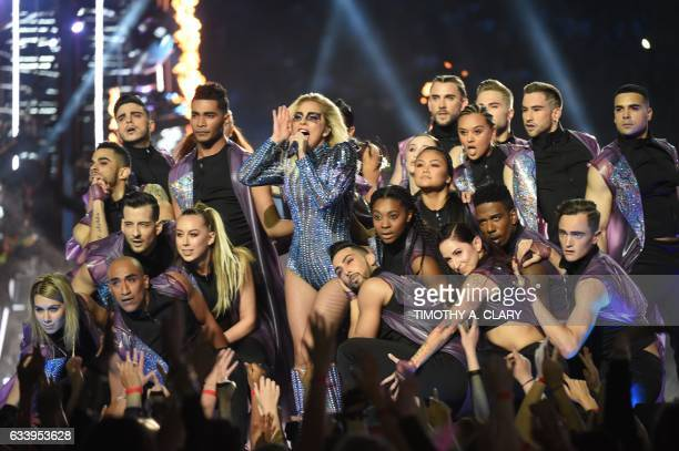 Singer Lady Gaga performs during the halftime show of Super Bowl LI at NGR Stadium in Houston Texas on February 5 2017 / AFP / Timothy A CLARY