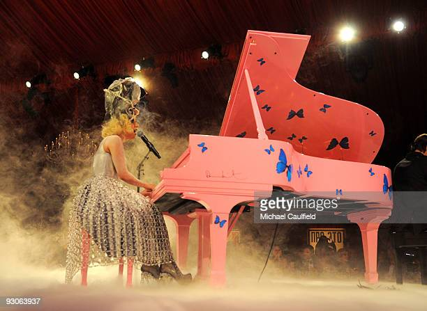 Singer Lady Gaga performs during the MOCA NEW 30th anniversary gala held at MOCA on November 14 2009 in Los Angeles California