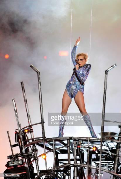 Singer Lady Gaga performs during the Pepsi Zero Sugar Super Bowl LI Halftime Show at NRG Stadium on February 5, 2017 in Houston, Texas.