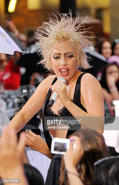 Singer Lady Gaga performs on NBC's 'Today' at Rockefeller Center on July 9 2010 in New York City