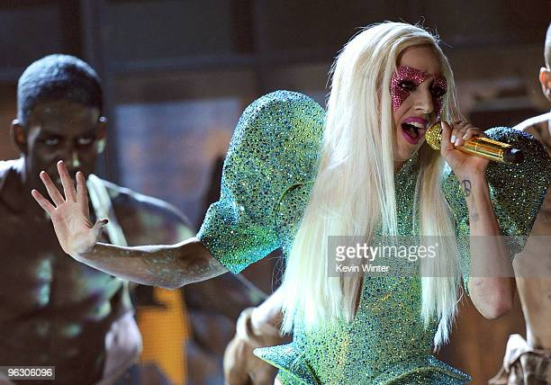 Singer Lady Gaga performs onstage during the 52nd Annual GRAMMY Awards held at Staples Center on January 31 2010 in Los Angeles California