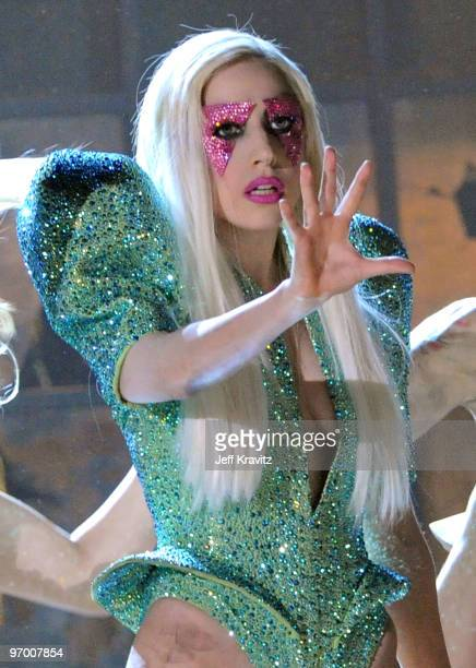 Singer Lady Gaga performs onstage during the 52nd Annual GRAMMY Awards held at Staples Center on January 31, 2010 in Los Angeles, California.