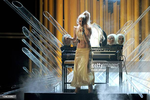 Singer Lady Gaga performs onstage during The 53rd Annual GRAMMY Awards held at Staples Center on February 13, 2011 in Los Angeles, California.