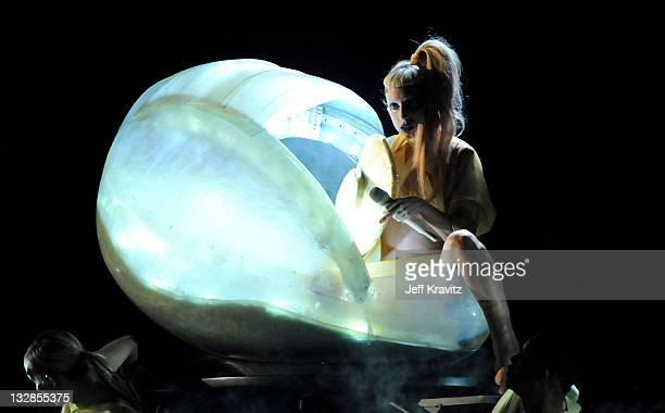 Singer Lady Gaga performs onstage during The 53rd Annual GRAMMY Awards held at Staples Center on February 13 2011 in Los Angeles California