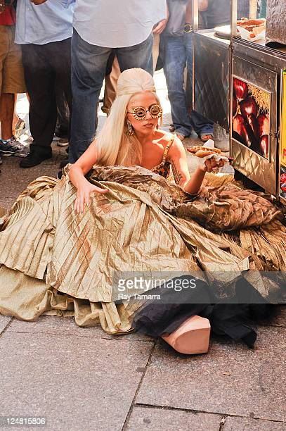 Singer Lady Gaga poses for a photo at an Annie Leibovitz photo shoot in Central Park on September 12 2011 in New York City