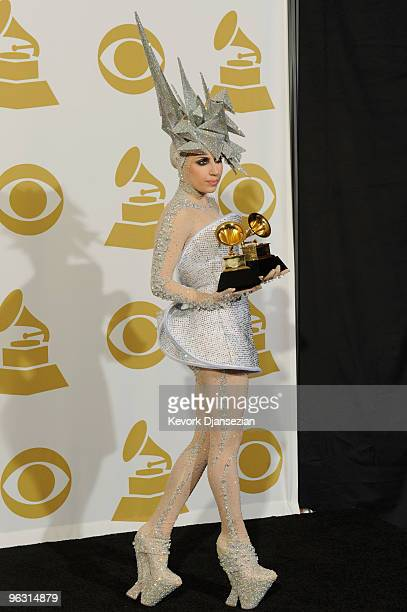 Singer Lady Gaga poses in the press room during the 52nd Annual GRAMMY Awards held at Staples Center on January 31 2010 in Los Angeles California