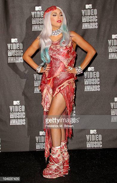 Singer Lady Gaga poses in the press room during the MTV Video Music Awards at NOKIA Theatre LA LIVE on September 12 2010 in Los Angeles California