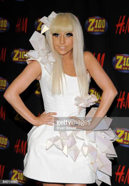 Singer Lady GaGa poses in the press room during Z100's Jingle Ball at Madison Square Garden on December 12 2008 in New York City