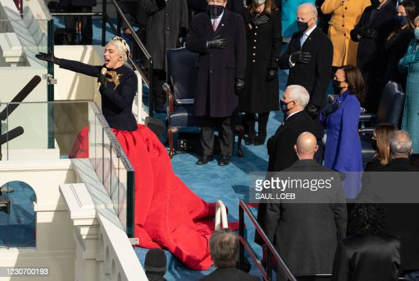 Singer Lady Gaga sings the US National Anthem during the 59th Presidential Inaguruation on January 20 at the US Capitol in Washington, DC.