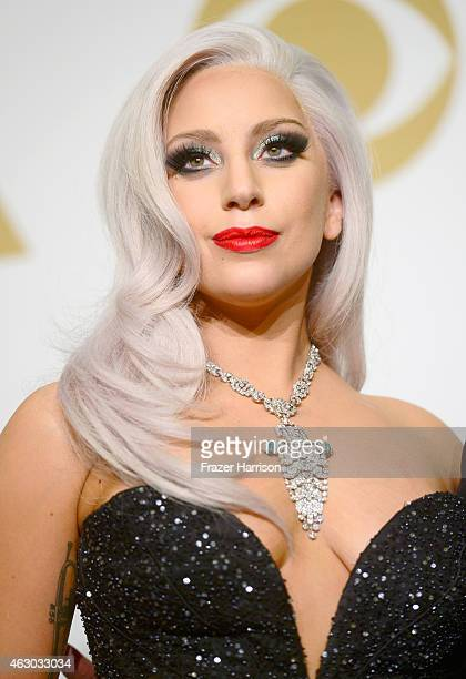 Singer Lady Gaga winner of Best Traditional Pop Vocal Album for 'Cheek to Cheek' poses in the press room during The 57th Annual GRAMMY Awards at the...