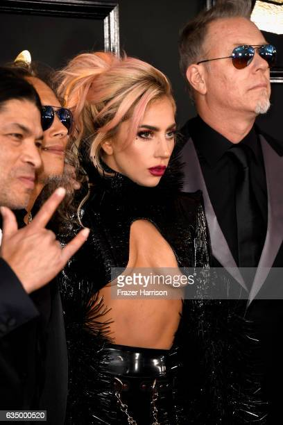 Singer Lady Gaga with musicians Robert Trujillo and James Hetfield of Metallica attend The 59th GRAMMY Awards at STAPLES Center on February 12 2017...