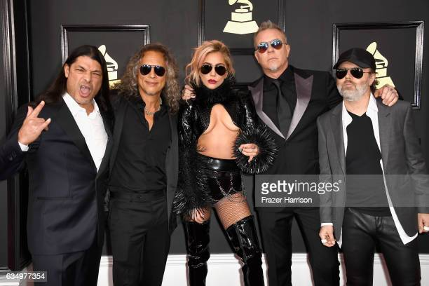 Singer Lady Gaga with musicians Robert Trujillo Kirk Hammett James Hetfield and Lars Ulrich of Metallica attend The 59th GRAMMY Awards at STAPLES...