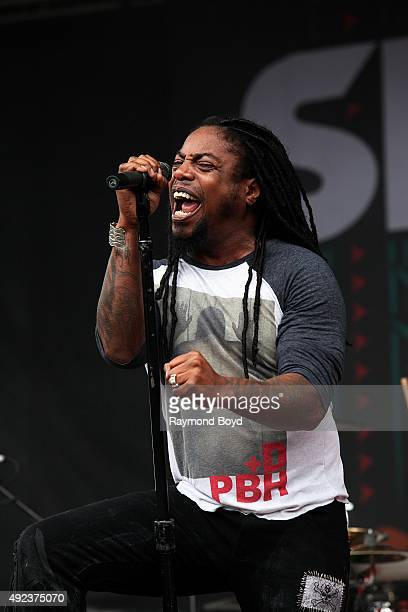 Singer Lajon Witherspoon from Sevendust performs during the 'Louder Than Life' festival at Champions Park on October 3 2015 in Louisville Kentucky