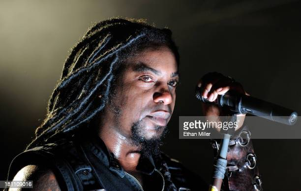 Singer Lajon Witherspoon of Sevendust performs at Hard Rock Live Las Vegas as the band tours in support of the album 'Black Out the Sun' on September...