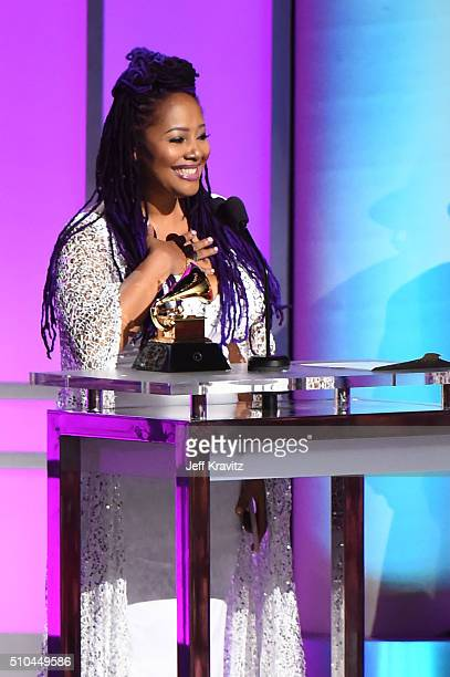 Singer Lalah Hathaway accepts the award for Best Traditional RB Performance for 'Litlle Ghetto Boy' onstage during The 58th GRAMMY Premiere Ceremony...