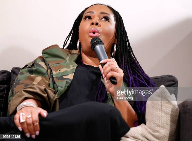 Singer Lalah Hathaway demonstrates her polyphonic singing style during a panel discussion at the Vocal Health Clinic event hosted by The Recording...