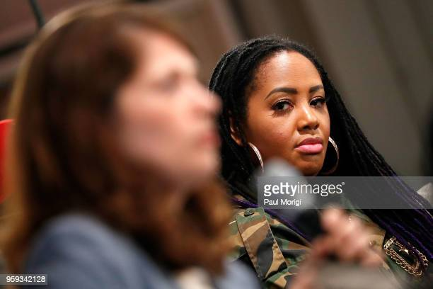 Singer Lalah Hathaway listens to Dr Nazaneen Grant speak during a panel discussion at the Vocal Health Clinic event hosted by The Recording Academy...