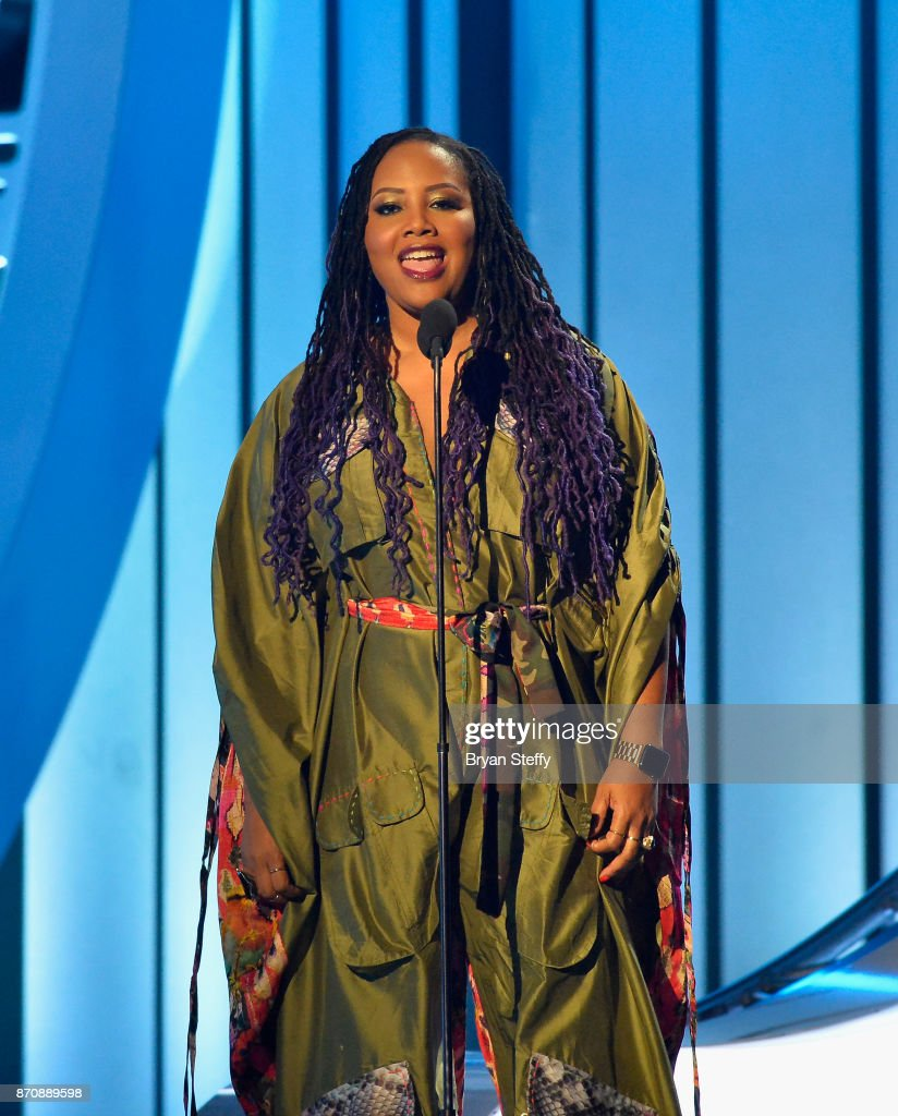 Singer Lalah Hathaway speaks during the 2017 Soul Train Music Awards at the Orleans Arena on November 5, 2017 in Las Vegas, Nevada.