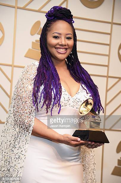 Singer Lalah Hathaway winner of Best Traditional RB Performance for 'Little Ghetto Boy' poses in the press room during The 58th GRAMMY Awards at...