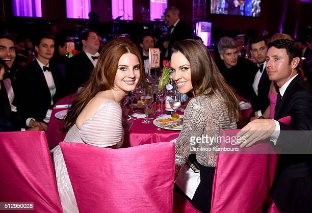 Singer Lana Del Rey and actress Hilary Swank attend the 24th Annual Elton John AIDS Foundation's Oscar Viewing Party at The City of West Hollywood...