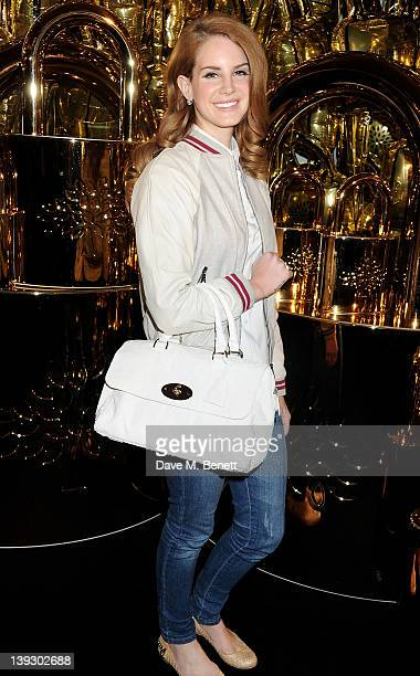 Singer Lana Del Rey arrives at the Mulberry Autumn/Winter 2012 show during London Fashion Week at Claridge's Hotel on February 19 2012 in London...