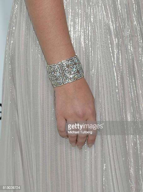 Singer Lana Del Rey bracelet detail attends the 24th annual Elton John AIDS Foundation's Oscar viewing party on February 28 2016 in West Hollywood...