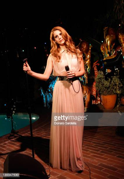 Singer Lana Del Rey performs during the Mulberry SS12 Dinner at Chateau Marmont on December 8, 2011 in Los Angeles, California.