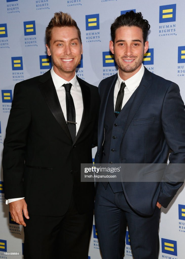 Singer Lance Bass (L) and actor Michael Turchin attend the 2013 Human Rights Campaign Los Angeles Gala at JW Marriott Los Angeles at L.A. LIVE on March 23, 2013 in Los Angeles, California.