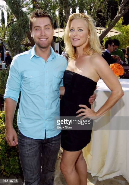 Singer Lance Bass and actress Angela Featherstone attend to the 8th Annual GLEH Garden Party on October 11 2009 in Los Angeles California
