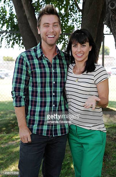 Singer Lance Bass and actress Constance Zimmer attend The Environmental Media Association's 3rd Annual Garden Luncheon at Carson Senior High School...