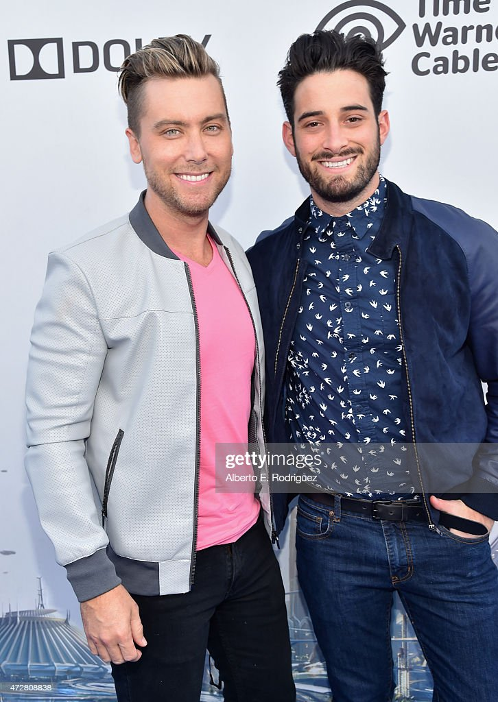 Singer Lance Bass (L) and artist Michael Turchin attend the world premiere of Disney's 'Tomorrowland' at Disneyland, Anaheim on May 9, 2015 in Anaheim, California.