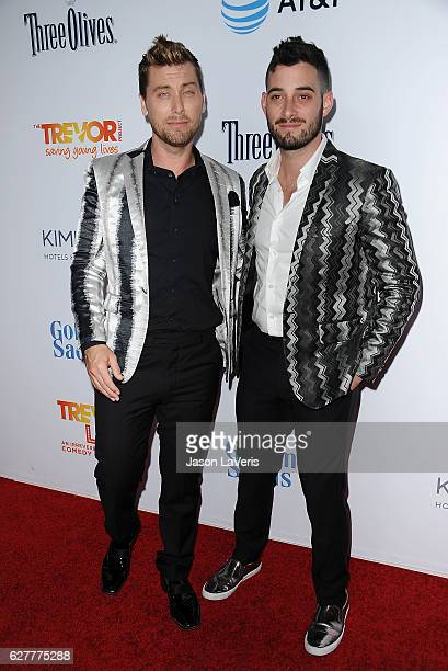 Singer Lance Bass and husband Michael Turchin attend the TrevorLIVE Los Angeles 2016 fundraiser at The Beverly Hilton Hotel on December 4 2016 in...