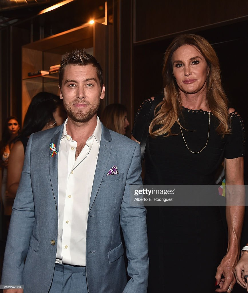 Singer Lance Bass and TV personality Caitlyn Jenner attend a cocktail reception Benefit for onePULSE Foundation at NeueHouse Hollywood on August 19, 2016 in Los Angeles, California.