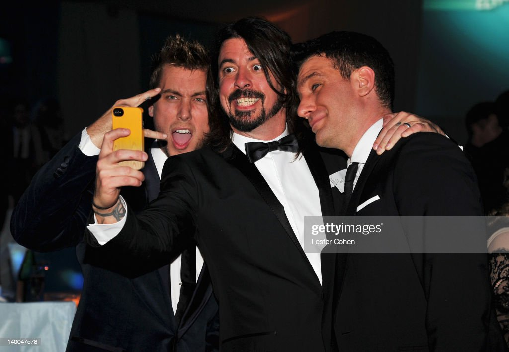 Singer Lance Bass, musician Dave Grohl, and singer JC Chasez attend the 20th Annual Elton John AIDS Foundation Academy Awards Viewing Party at The City of West Hollywood Park on February 26, 2012 in Beverly Hills, California.
