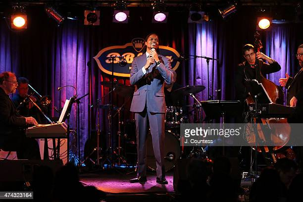 Singer Landau Eugene Murphy Jr performs during a musical tribute to singer BB King at BB King Blues Club Grill on May 21 2015 in New York City