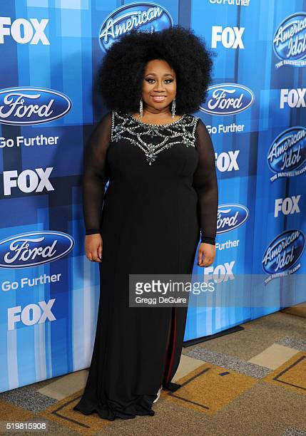 """Singer La'Porsha Renae arrives at FOX's """"American Idol"""" Finale For The Farewell Season at Dolby Theatre on April 7, 2016 in Hollywood, California."""