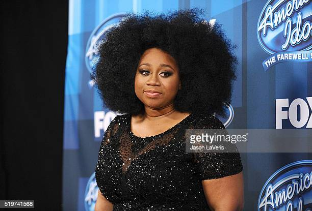 """Singer La'Porsha Renae poses in the press room at FOX's """"American Idol"""" finale for the farewell season at Dolby Theatre on April 7, 2016 in..."""