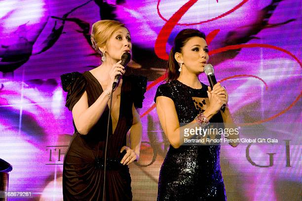 Singer Lara Fabian and Eva Longoria singing Happy Birthday to Nikos Aliagas which has 44 years old today 'Global Gift Gala' at Hotel George V on May...