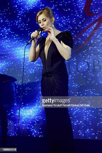 Singer Lara Fabian performs at 'Global Gift Gala' at Hotel George V on May 13 2013 in Paris France