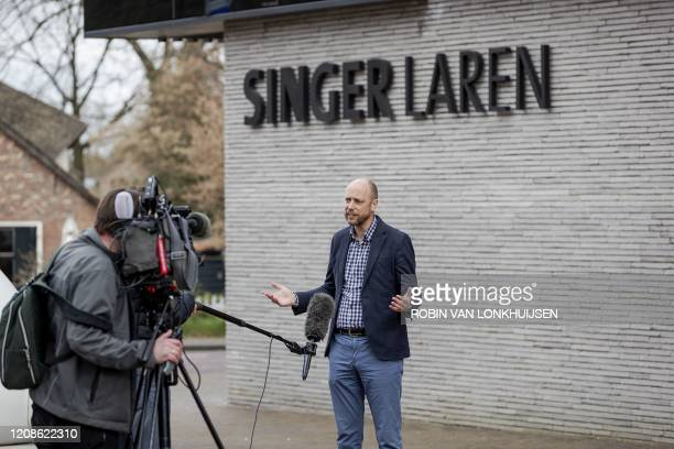 Singer Laren Museum Evert van Os speaks to the press outside the museum on March 30 2020 in Laren about 30 kilometres southeast of Amsterdam closed...