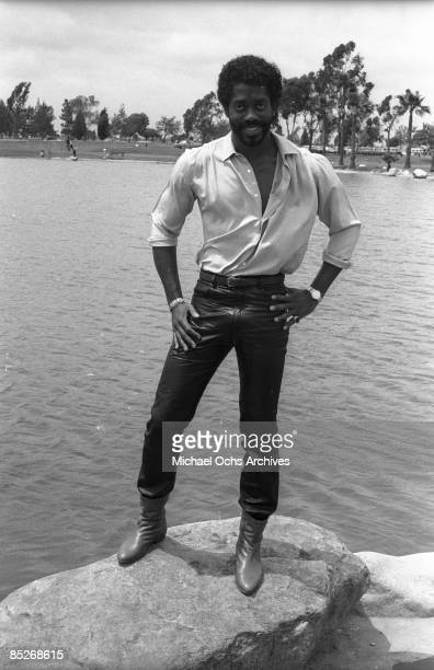 Singer Larry Blackmon of the RBfunk group Cameo poses for a portrait in front of a lake on May 8 1982 in Los Angeles California