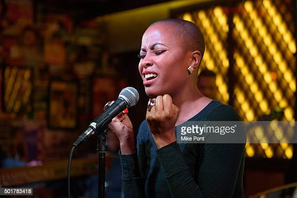 Singer Latice Crawford performs during the War Room Bluray Release Gospel Brunch at Red Rooster Restaurant on December 17 2015 in New York City