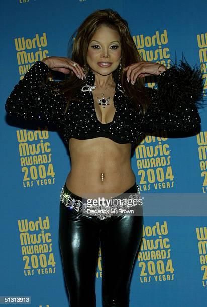Singer LaToya Jackson poses backstage at the 2004 World Music Awards at the Thomas and Mack Center on September 15 2004 in Las Vegas Nevada The World...