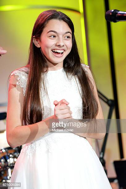 Singer Laura Bretan performs onstage during the Friends Of The Israel Defense Forces Western Region Gala at The Beverly Hilton Hotel on November 3...